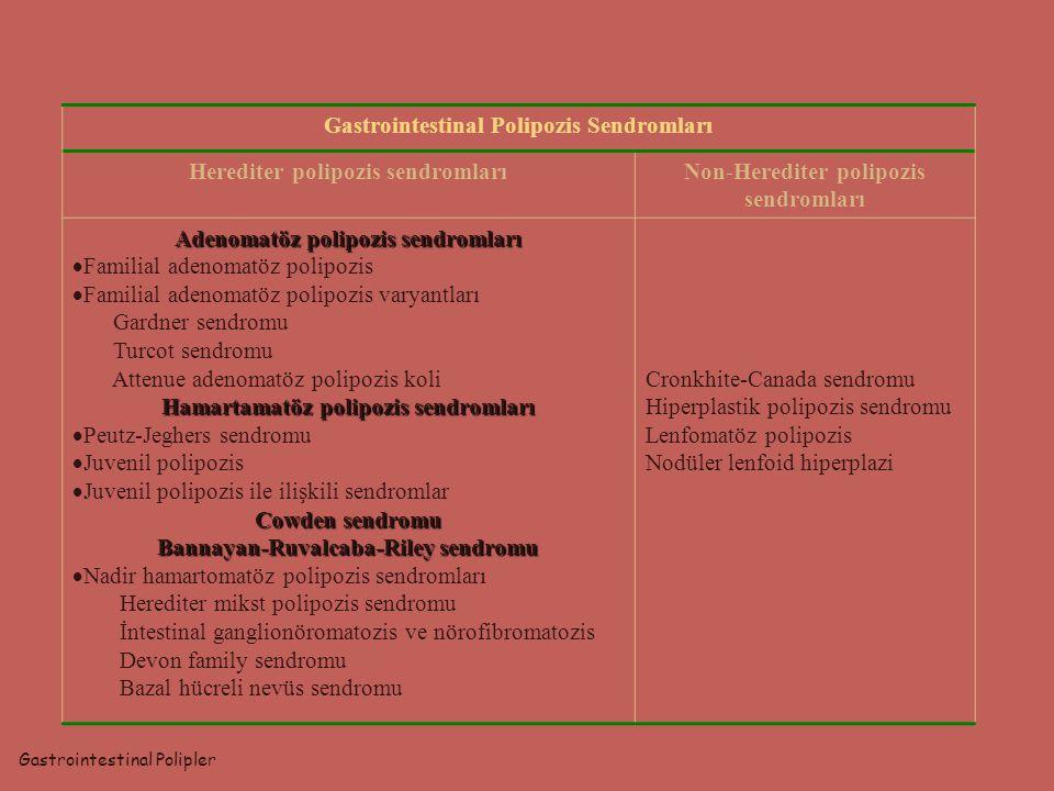Gastrointestinal Polipozis Sendromları Herediter polipozis sendromlarıNon-Herediter polipozis sendromları Adenomatöz polipozis sendromları  Familial