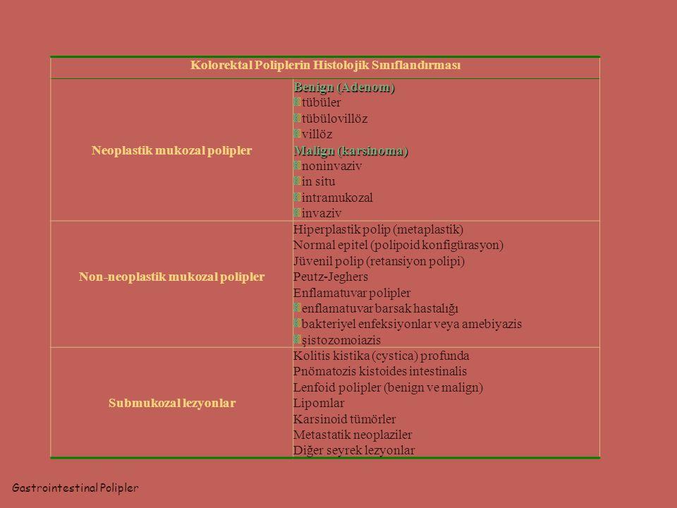 Gastrointestinal Polipler Kolorektal Poliplerin Histolojik Sınıflandırması Neoplastik mukozal polipler Benign (Adenom) tübüler tübülovillöz villöz Mal