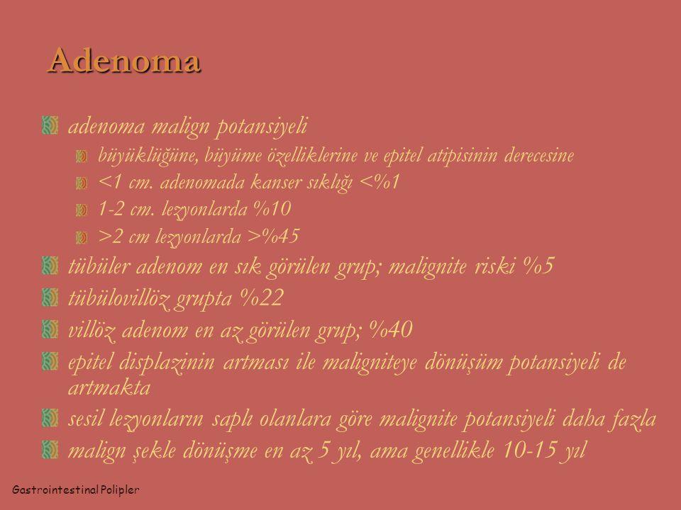 Adenoma adenoma malign potansiyeli büyüklüğüne, büyüme özelliklerine ve epitel atipisinin derecesine <1 cm. adenomada kanser sıklığı <%1 1-2 cm. lezyo