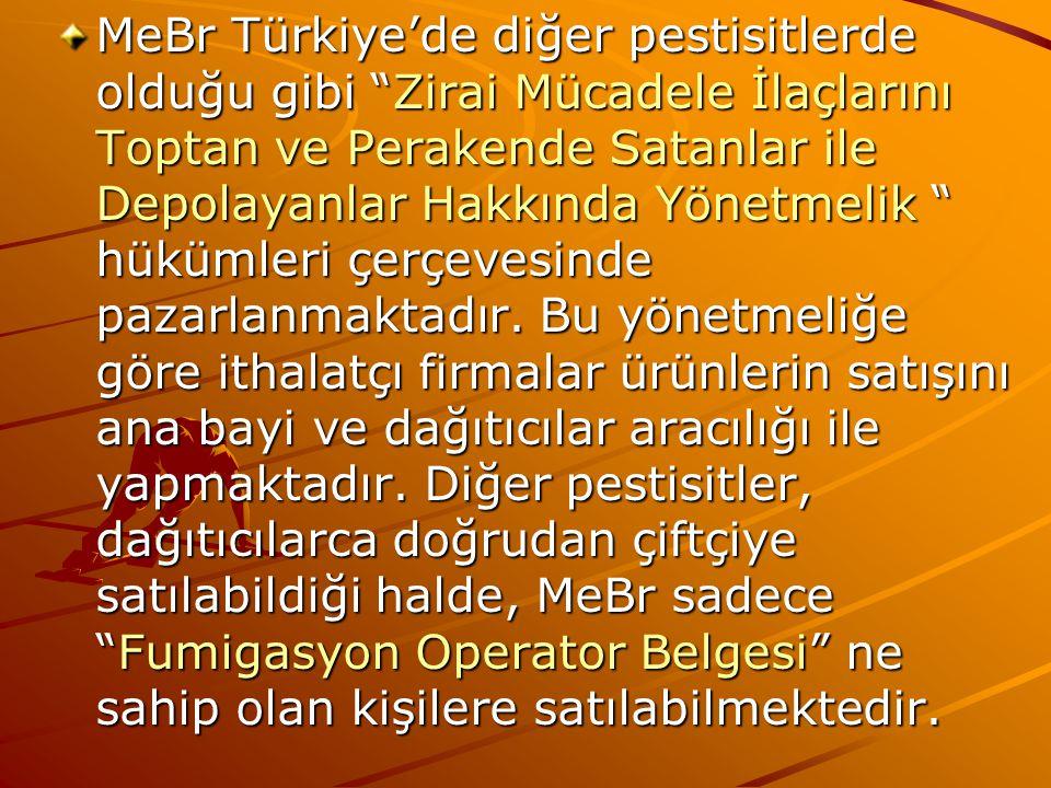 """MeBr Türkiye'de diğer pestisitlerde olduğu gibi """"Zirai Mücadele İlaçlarını Toptan ve Perakende Satanlar ile Depolayanlar Hakkında Yönetmelik """" hükümle"""