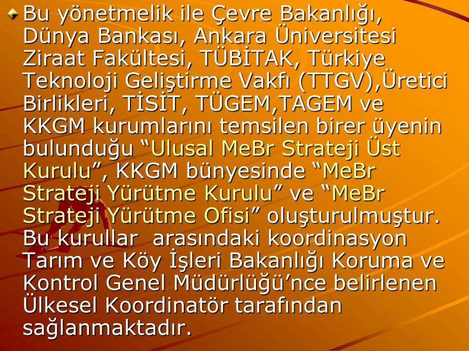 Bu yönetmelik ile Çevre Bakanlığı, Dünya Bankası, Ankara Üniversitesi Ziraat Fakültesi, TÜBİTAK, Türkiye Teknoloji Geliştirme Vakfı (TTGV),Üretici Bir