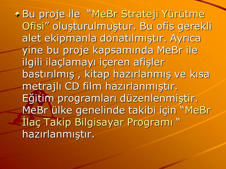"""Bu proje ile """"MeBr Strateji Yürütme Ofisi"""" oluşturulmuştur. Bu ofis gerekli alet ekipmanla donatılmıştır. Ayrıca yine bu proje kapsamında MeBr ile ilg"""