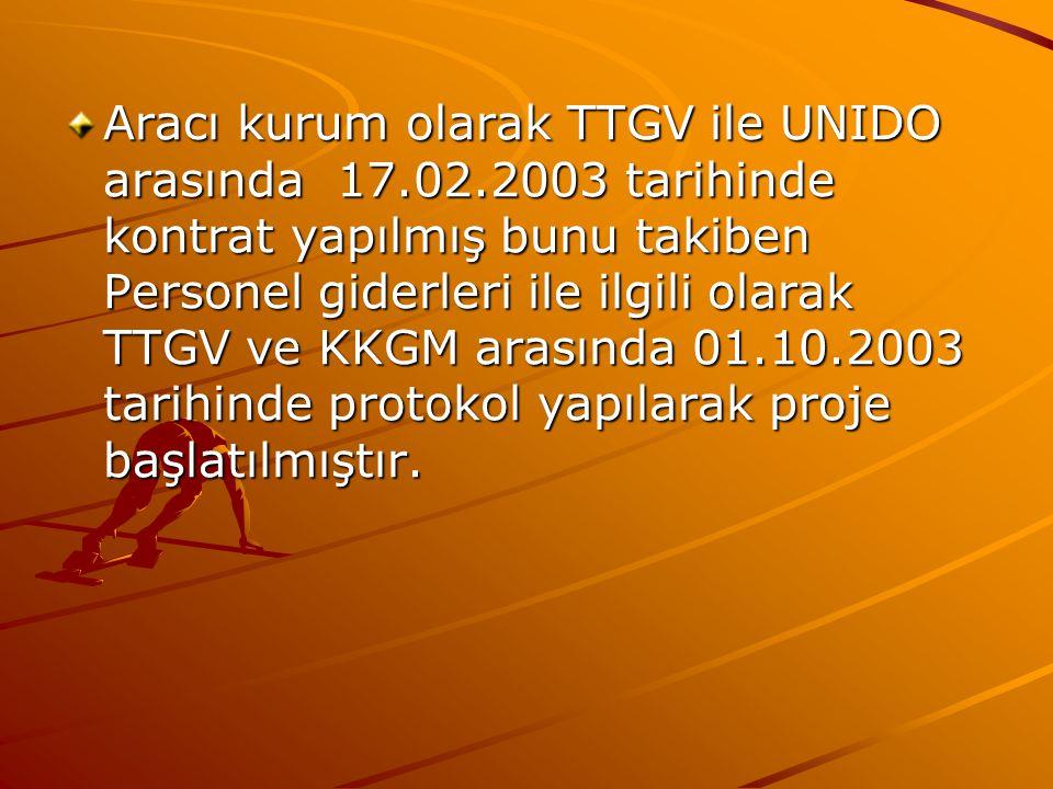 Aracı kurum olarak TTGV ile UNIDO arasında 17.02.2003 tarihinde kontrat yapılmış bunu takiben Personel giderleri ile ilgili olarak TTGV ve KKGM arasın