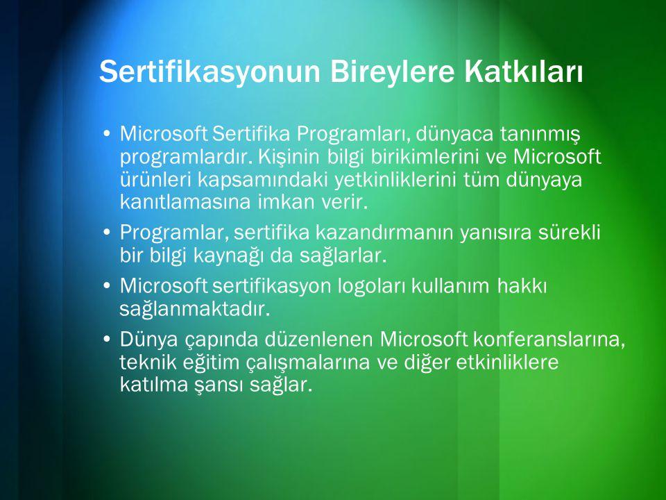 Sertifikasyonun Bireylere Katkıları •Microsoft Sertifika Programları, dünyaca tanınmış programlardır. Kişinin bilgi birikimlerini ve Microsoft ürünler