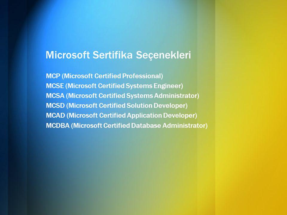 Microsoft Sertifika Seçenekleri MCP (Microsoft Certified Professional) MCSE (Microsoft Certified Systems Engineer) MCSA (Microsoft Certified Systems A