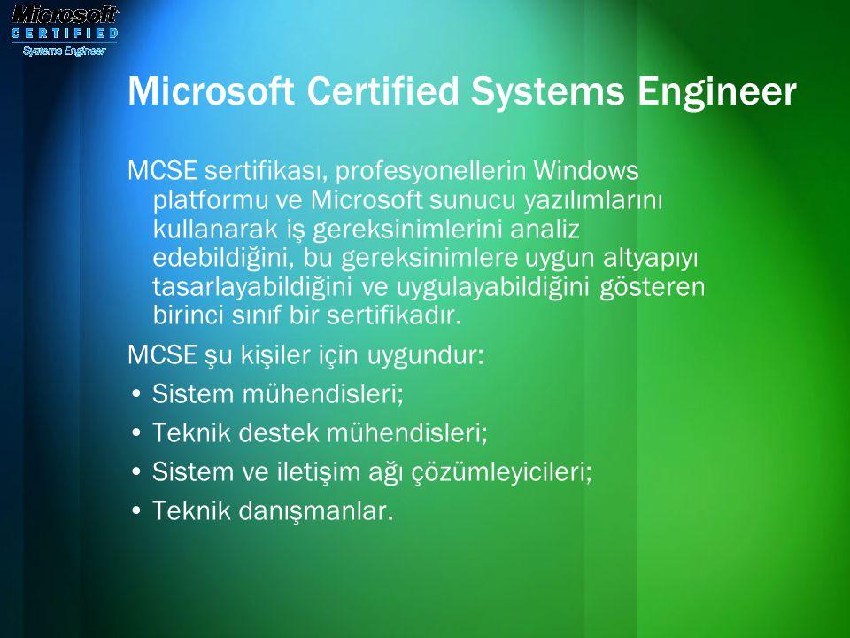 Microsoft Certified Systems Engineer MCSE sertifikası, profesyonellerin Windows platformu ve Microsoft sunucu yazılımlarını kullanarak iş gereksinimle