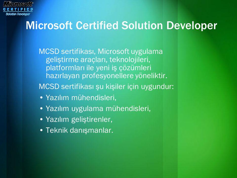 Microsoft Certified Solution Developer MCSD sertifikası, Microsoft uygulama geliştirme araçları, teknolojileri, platformları ile yeni iş çözümleri haz