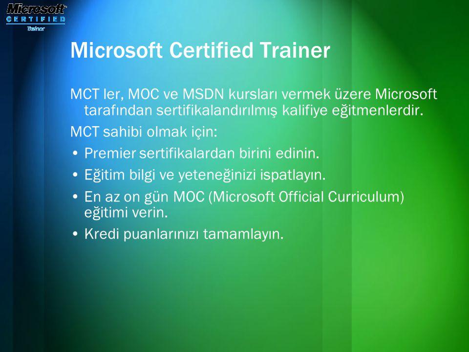Microsoft Certified Trainer MCT ler, MOC ve MSDN kursları vermek üzere Microsoft tarafından sertifikalandırılmış kalifiye eğitmenlerdir. MCT sahibi ol