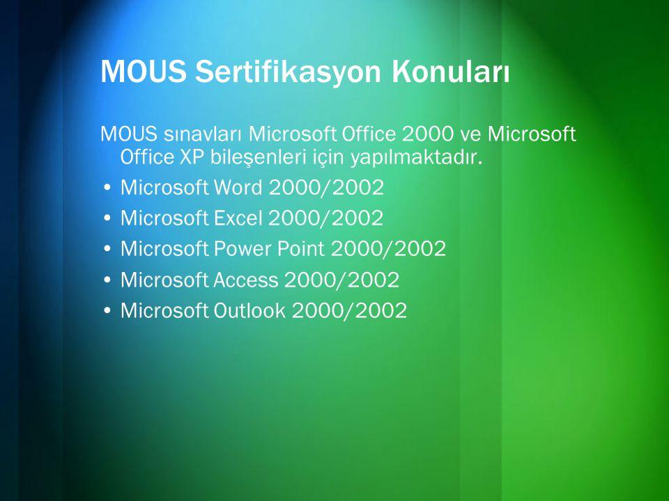 MOUS Sertifikasyon Konuları MOUS sınavları Microsoft Office 2000 ve Microsoft Office XP bileşenleri için yapılmaktadır. •Microsoft Word 2000/2002 •Mic