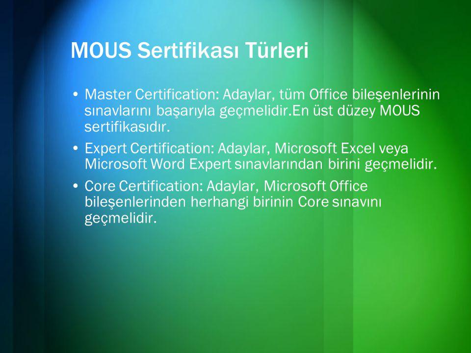 MOUS Sertifikası Türleri •Master Certification: Adaylar, tüm Office bileşenlerinin sınavlarını başarıyla geçmelidir.En üst düzey MOUS sertifikasıdır.