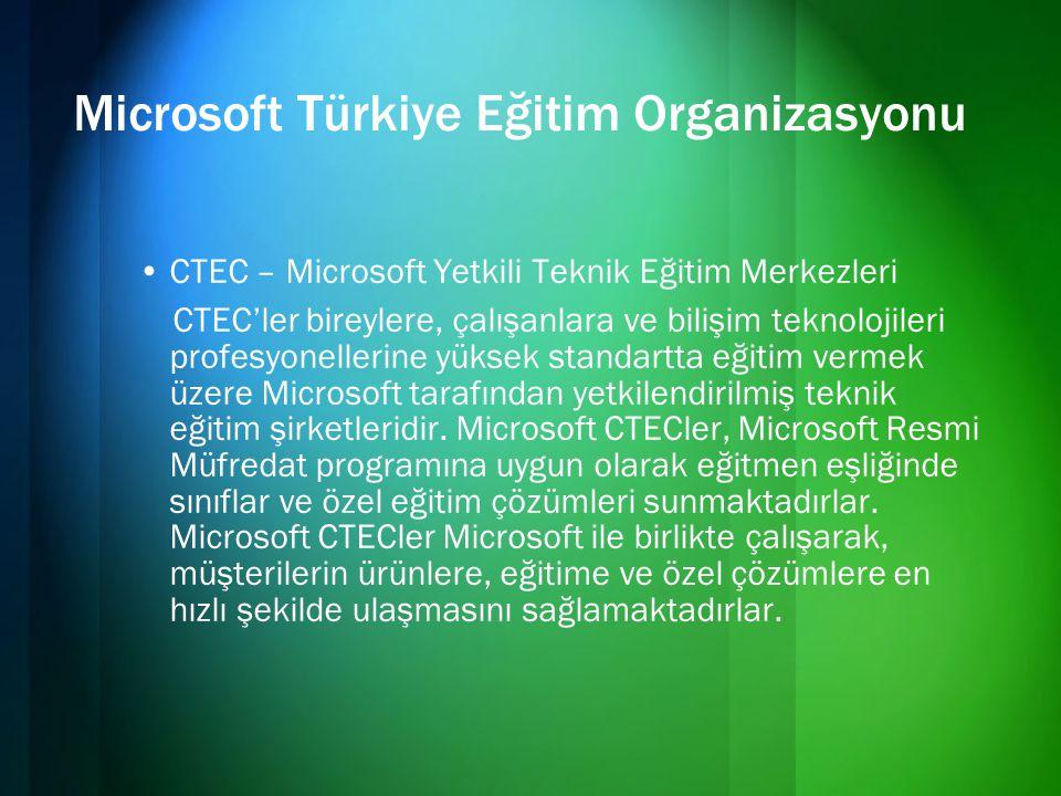 Microsoft Türkiye Eğitim Organizasyonu •CTEC – Microsoft Yetkili Teknik Eğitim Merkezleri CTEC'ler bireylere, çalışanlara ve bilişim teknolojileri pro