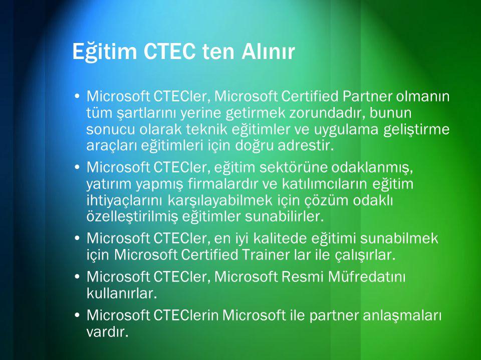 Eğitim CTEC ten Alınır •Microsoft CTECler, Microsoft Certified Partner olmanın tüm şartlarını yerine getirmek zorundadır, bunun sonucu olarak teknik e