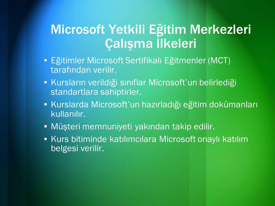 Microsoft Yetkili Eğitim Merkezleri Çalışma İlkeleri •Eğitimler Microsoft Sertifikalı Eğitmenler (MCT) tarafından verilir. •Kursların verildiği sınıfl