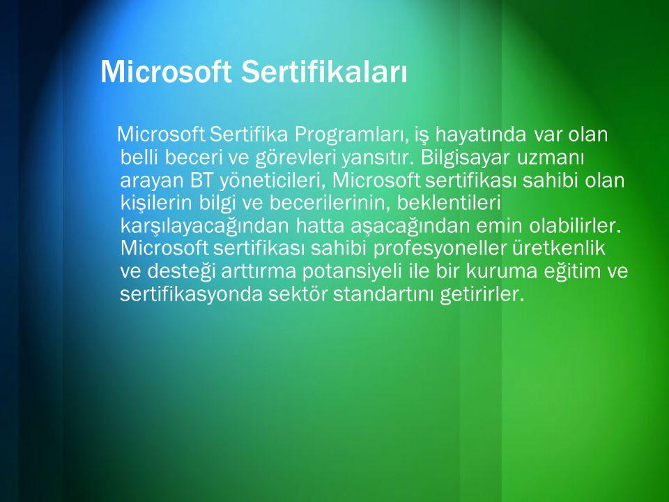 Microsoft Sertifikaları Microsoft Sertifika Programları, iş hayatında var olan belli beceri ve görevleri yansıtır. Bilgisayar uzmanı arayan BT yönetic