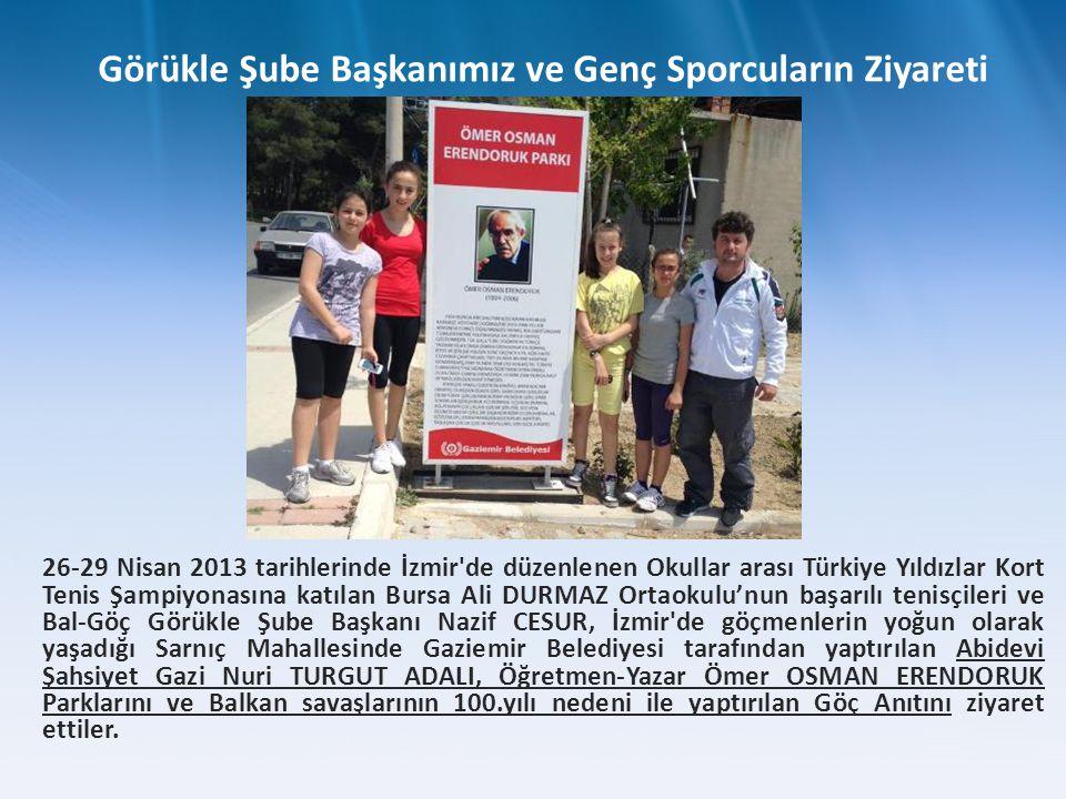26-29 Nisan 2013 tarihlerinde İzmir'de düzenlenen Okullar arası Türkiye Yıldızlar Kort Tenis Şampiyonasına katılan Bursa Ali DURMAZ Ortaokulu'nun başa