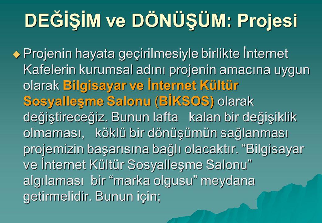 DEĞİŞİM ve DÖNÜŞÜM: Projesi  Projenin hayata geçirilmesiyle birlikte İnternet Kafelerin kurumsal adını projenin amacına uygun olarak Bilgisayar ve İnternet Kültür Sosyalleşme Salonu (BİKSOS) olarak değiştireceğiz.