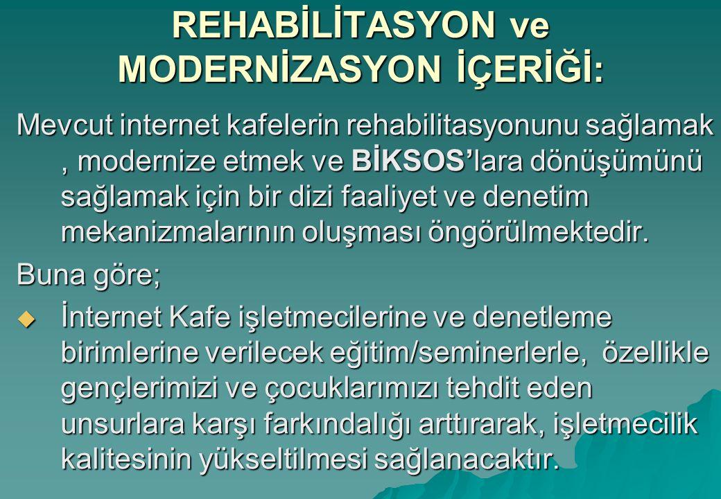 REHABİLİTASYON ve MODERNİZASYON İÇERİĞİ: Mevcut internet kafelerin rehabilitasyonunu sağlamak, modernize etmek ve BİKSOS'lara dönüşümünü sağlamak için bir dizi faaliyet ve denetim mekanizmalarının oluşması öngörülmektedir.