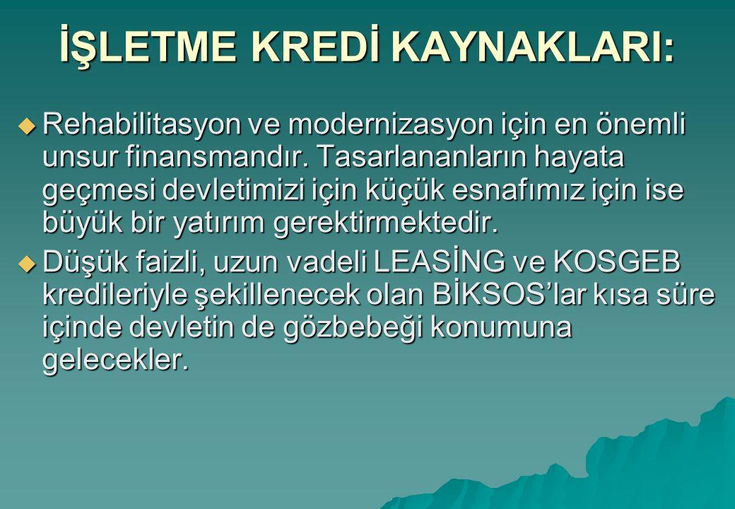 İŞLETME KREDİ KAYNAKLARI:  Rehabilitasyon ve modernizasyon için en önemli unsur finansmandır.
