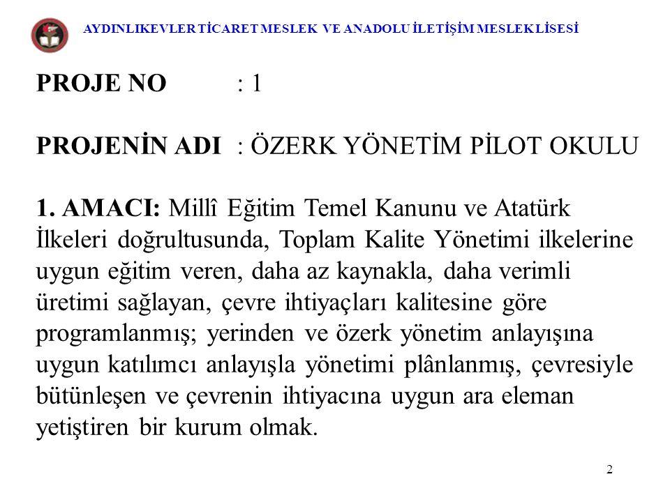 3 2.KAPSAMI: Aydınlıkevler Ticaret Meslek ve ankar Anadolu İletişim Meslek Lisesi 3.DAYANAK: a.