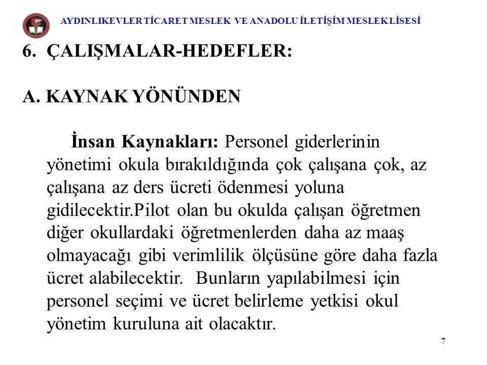 18 Projenin Özeti: 1)Proje, Aydınlıkevler Ticaret Meslek Lisesi ve Ankara Anadolu İletişim Meslek Lisesi'ni kapsar.