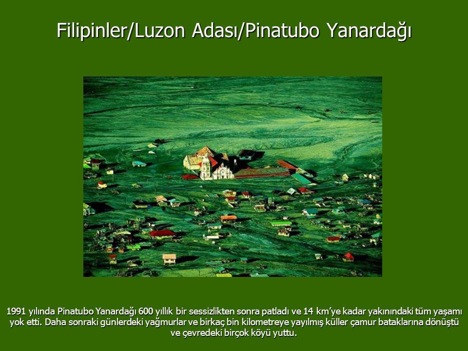 Filipinler/Luzon Adası/Pinatubo Yanardağı 1991 yılında Pinatubo Yanardağı 600 yıllık bir sessizlikten sonra patladı ve 14 km'ye kadar yakınındaki tüm yaşamı yok etti.