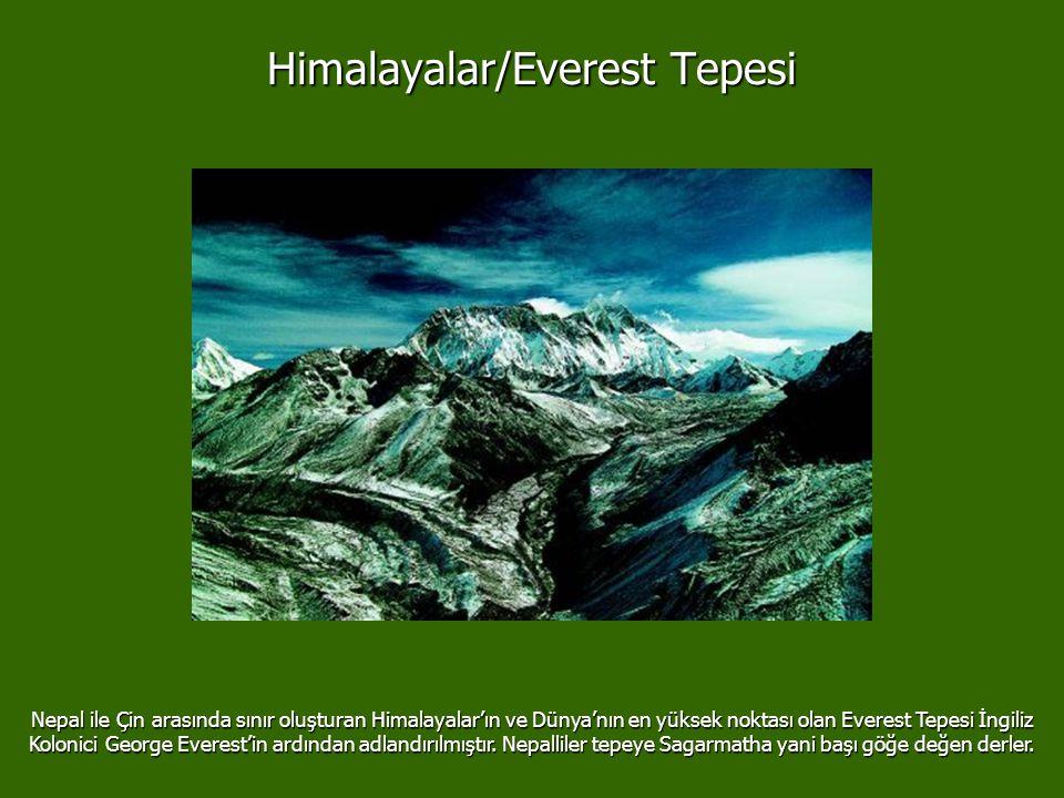 Himalayalar/Everest Tepesi Nepal ile Çin arasında sınır oluşturan Himalayalar'ın ve Dünya'nın en yüksek noktası olan Everest Tepesi İngiliz Kolonici George Everest'in ardından adlandırılmıştır.
