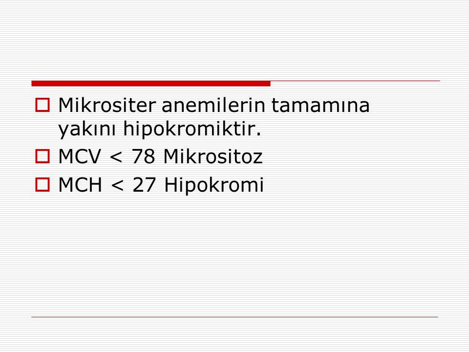  Mikrositer anemilerin tamamına yakını hipokromiktir.  MCV < 78 Mikrositoz  MCH < 27 Hipokromi