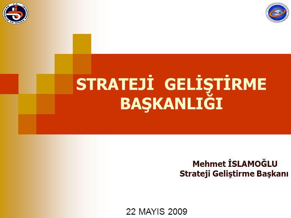 STRATEJİ GELİŞTİRME BAŞKANLIĞI Mehmet İSLAMOĞLU Strateji Geliştirme Başkanı 22 MAYIS 2009