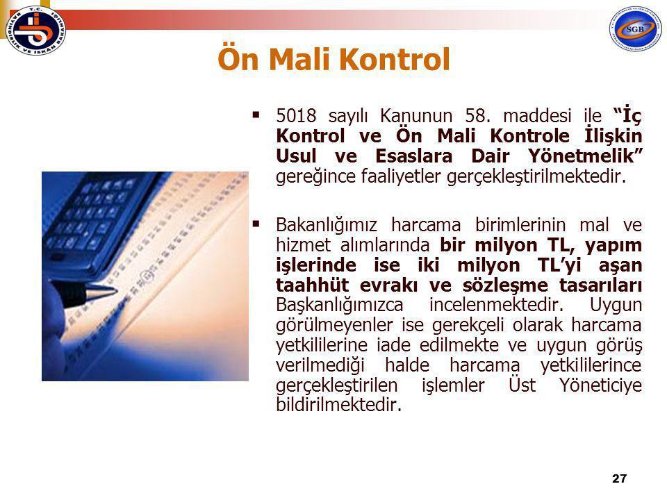 """27 Ön Mali Kontrol  5018 sayılı Kanunun 58. maddesi ile """"İç Kontrol ve Ön Mali Kontrole İlişkin Usul ve Esaslara Dair Yönetmelik"""" gereğince faaliyetl"""