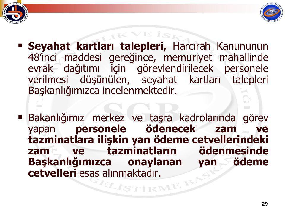29  Seyahat kartları talepleri, Harcırah Kanununun 48'inci maddesi gereğince, memuriyet mahallinde evrak dağıtımı için görevlendirilecek personele verilmesi düşünülen, seyahat kartları talepleri Başkanlığımızca incelenmektedir.