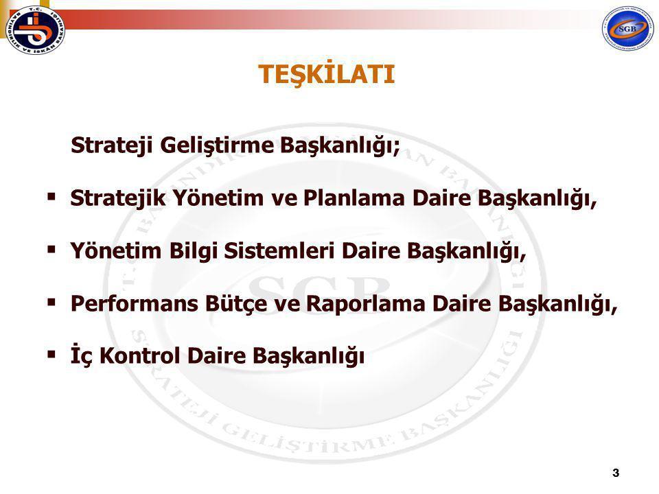 3 Strateji Geliştirme Başkanlığı;  Stratejik Yönetim ve Planlama Daire Başkanlığı,  Yönetim Bilgi Sistemleri Daire Başkanlığı,  Performans Bütçe ve