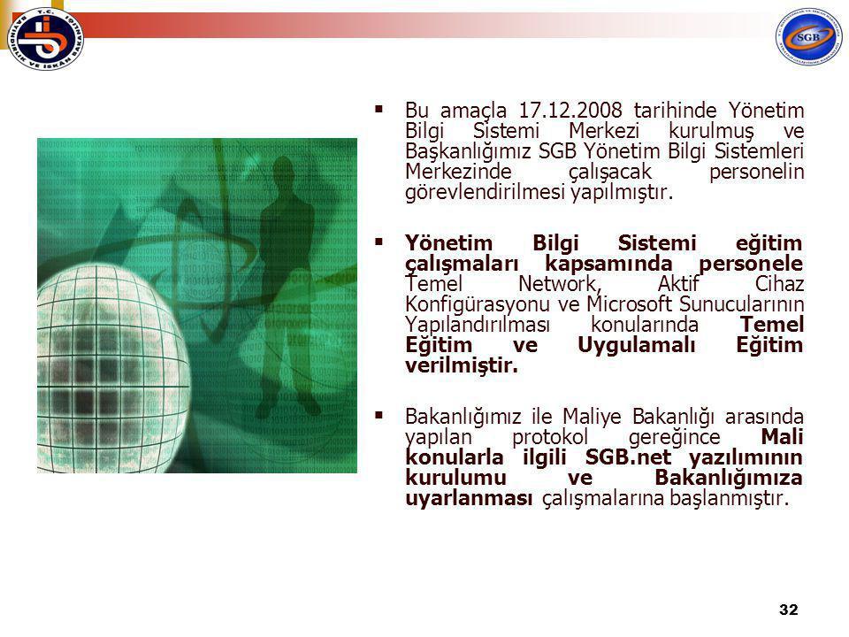 32  Bu amaçla 17.12.2008 tarihinde Yönetim Bilgi Sistemi Merkezi kurulmuş ve Başkanlığımız SGB Yönetim Bilgi Sistemleri Merkezinde çalışacak personelin görevlendirilmesi yapılmıştır.