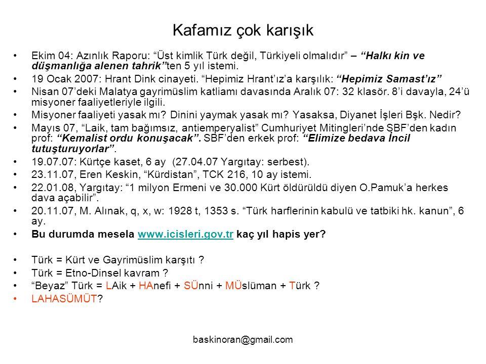 baskinoran@gmail.com Kafamız çok karışık •Ekim 04: Azınlık Raporu: Üst kimlik Türk değil, Türkiyeli olmalıdır – Halkı kin ve düşmanlığa alenen tahrik ten 5 yıl istemi.