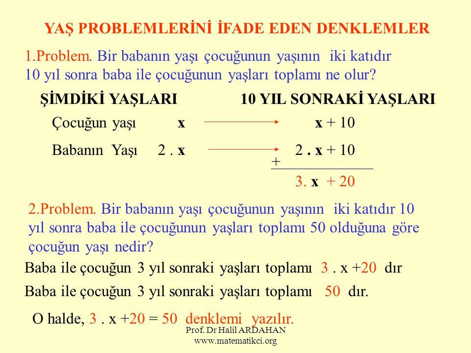 Prof. Dr Halil ARDAHAN www.matematikci.org YAŞ PROBLEMLERİNİ İFADE EDEN DENKLEMLER 1.Problem. Bir babanın yaşı çocuğunun yaşının iki katıdır 10 yıl so