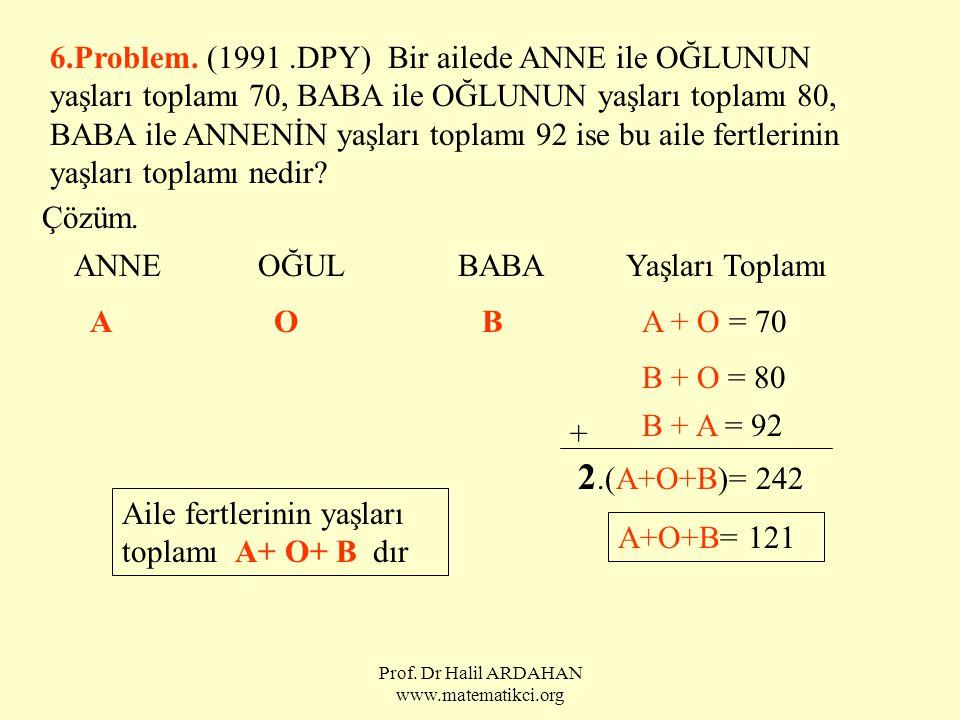 Prof. Dr Halil ARDAHAN www.matematikci.org 6.Problem. (1991.DPY) Bir ailede ANNE ile OĞLUNUN yaşları toplamı 70, BABA ile OĞLUNUN yaşları toplamı 80,