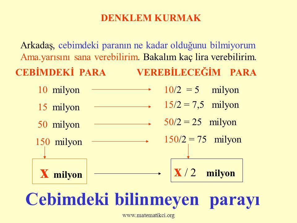 Prof. Dr Halil ARDAHAN www.matematikci.org DENKLEM KURMAK Arkadaş, cebimdeki paranın ne kadar olduğunu bilmiyorum Ama.yarısını sana verebilirim. Bakal