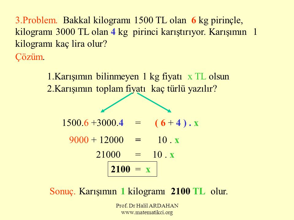 Prof. Dr Halil ARDAHAN www.matematikci.org 3.Problem. Bakkal kilogramı 1500 TL olan 6 kg pirinçle, kilogramı 3000 TL olan 4 kg pirinci karıştırıyor. K