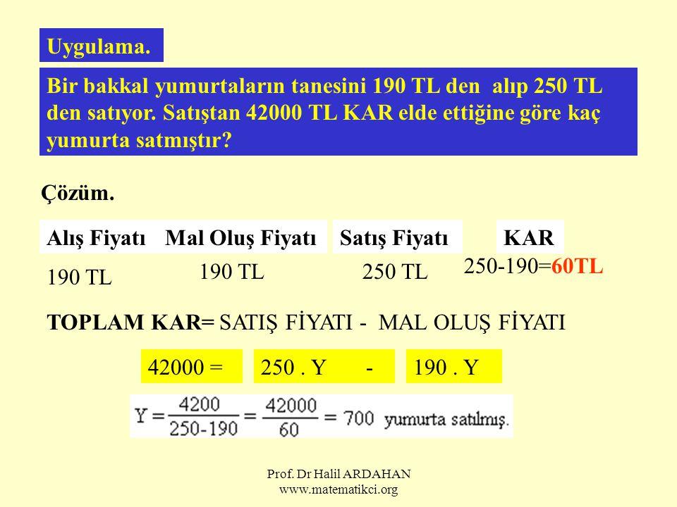 Prof. Dr Halil ARDAHAN www.matematikci.org Uygulama. Bir bakkal yumurtaların tanesini 190 TL den alıp 250 TL den satıyor. Satıştan 42000 TL KAR elde e