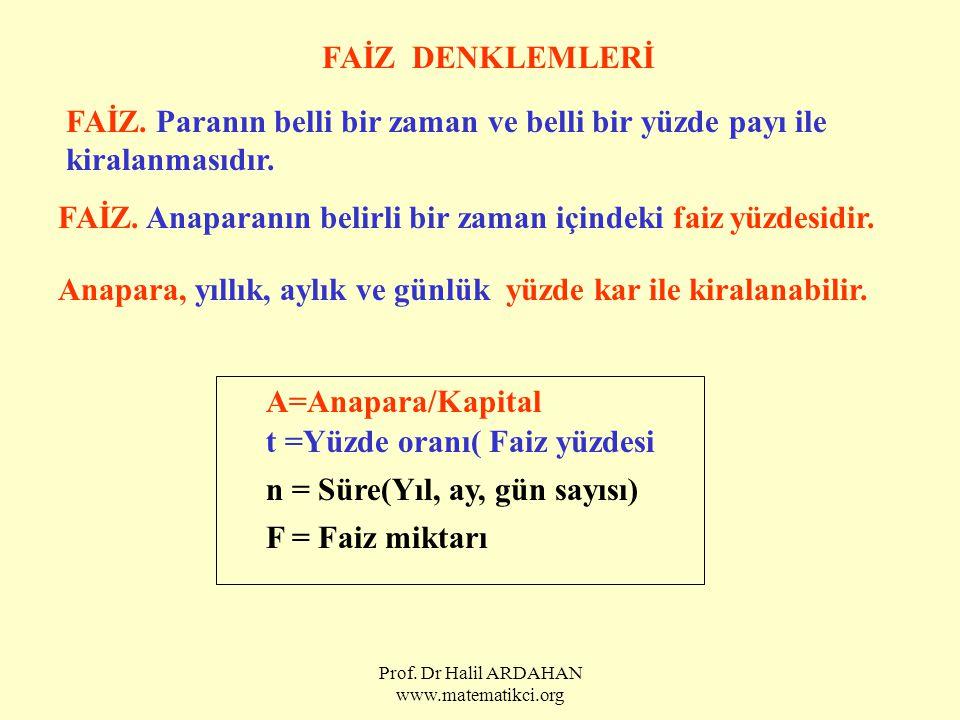 Prof. Dr Halil ARDAHAN www.matematikci.org FAİZ DENKLEMLERİ FAİZ. Paranın belli bir zaman ve belli bir yüzde payı ile kiralanmasıdır. FAİZ. Anaparanın