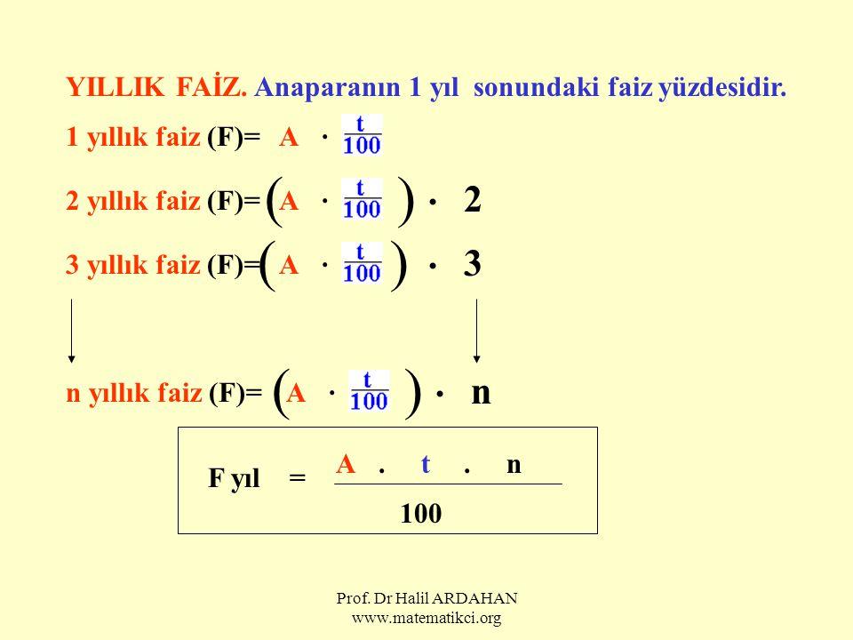 Prof. Dr Halil ARDAHAN www.matematikci.org YILLIK FAİZ. Anaparanın 1 yıl sonundaki faiz yüzdesidir. 1 yıllık faiz (F)=A. 2 yıllık faiz (F)=A. ( ). 2 3