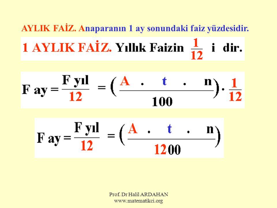 Prof. Dr Halil ARDAHAN www.matematikci.org AYLIK FAİZ. Anaparanın 1 ay sonundaki faiz yüzdesidir.