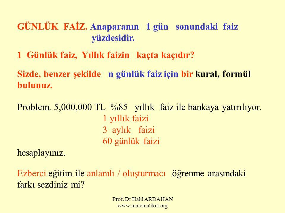 Prof. Dr Halil ARDAHAN www.matematikci.org GÜNLÜK FAİZ. Anaparanın 1 gün sonundaki faiz yüzdesidir. 1 Günlük faiz, Yıllık faizin kaçta kaçıdır? Sizde,