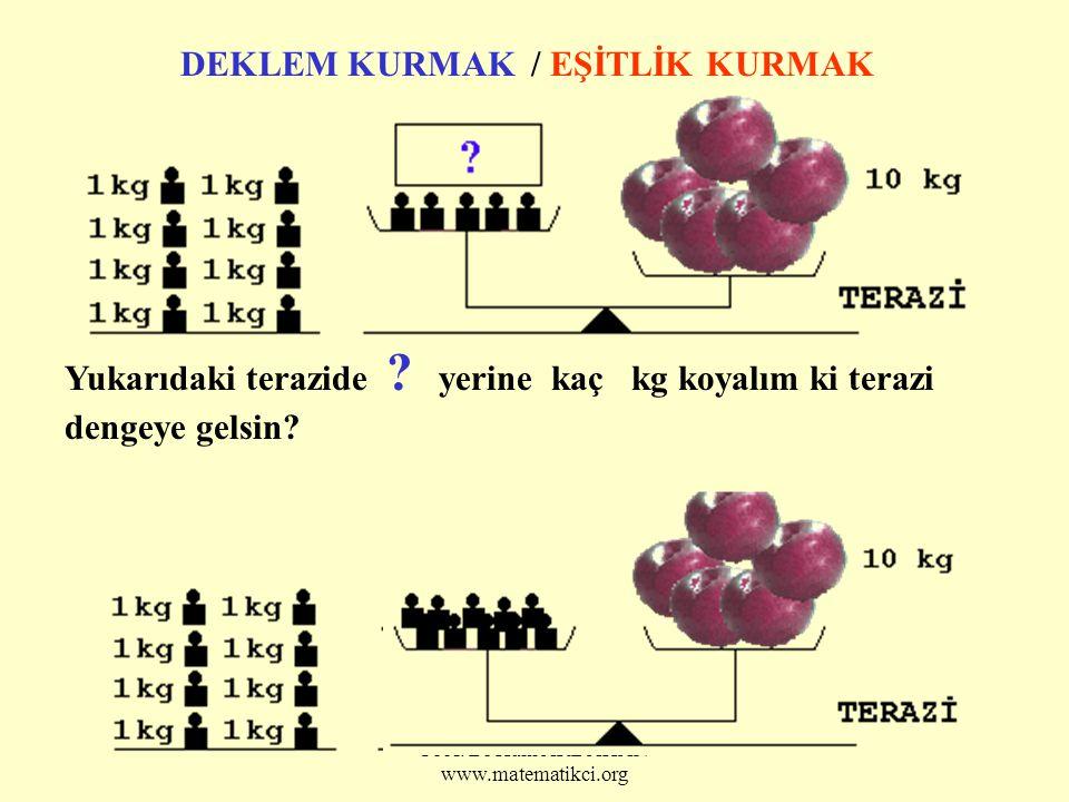 Prof. Dr Halil ARDAHAN www.matematikci.org DEKLEM KURMAK / EŞİTLİK KURMAK Yukarıdaki terazide ? yerine kaç kg koyalım ki terazi dengeye gelsin?