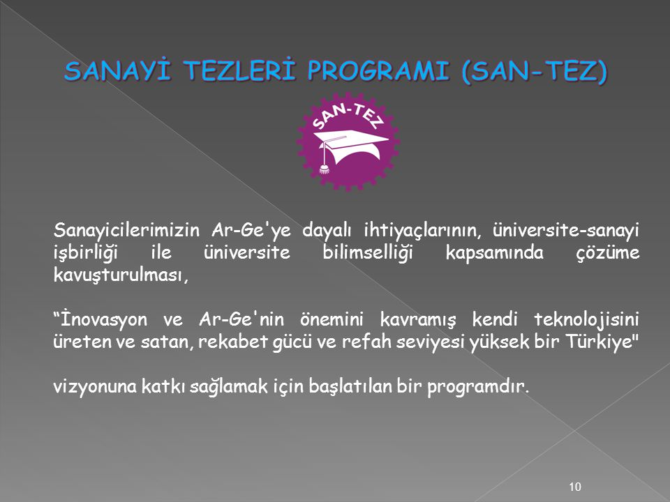Sanayicilerimizin Ar-Ge ye dayalı ihtiyaçlarının, üniversite-sanayi işbirliği ile üniversite bilimselliği kapsamında çözüme kavuşturulması, İnovasyon ve Ar-Ge nin önemini kavramış kendi teknolojisini üreten ve satan, rekabet gücü ve refah seviyesi yüksek bir Türkiye vizyonuna katkı sağlamak için başlatılan bir programdır.