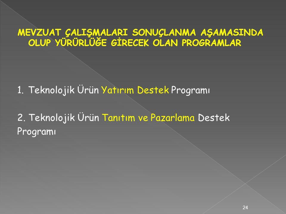 1.Teknolojik Ürün Yatırım Destek Programı 2. Teknolojik Ürün Tanıtım ve Pazarlama Destek Programı 24
