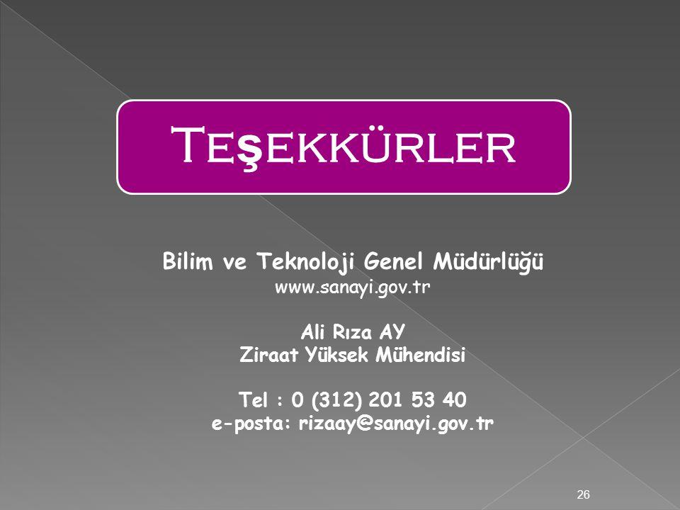Te ş ekkürler 26 Bilim ve Teknoloji Genel Müdürlüğü www.sanayi.gov.tr Ali Rıza AY Ziraat Yüksek Mühendisi Tel : 0 (312) 201 53 40 e-posta: rizaay@sanayi.gov.tr