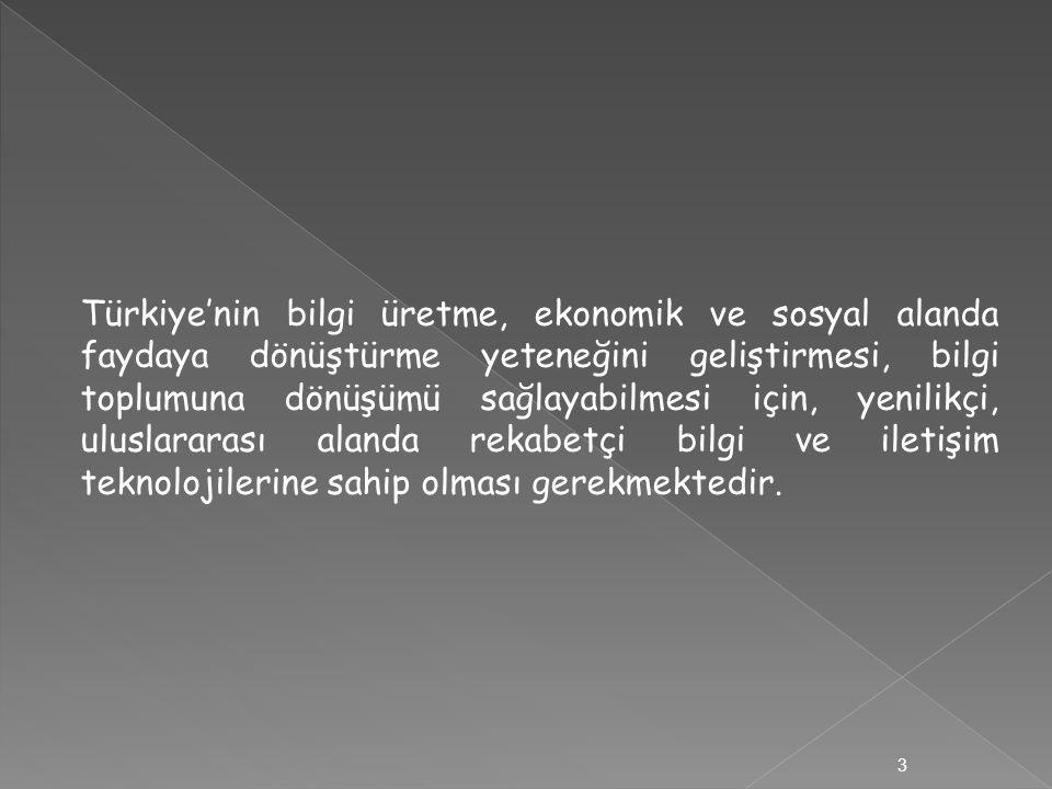 Türkiye'nin bilgi üretme, ekonomik ve sosyal alanda faydaya dönüştürme yeteneğini geliştirmesi, bilgi toplumuna dönüşümü sağlayabilmesi için, yenilikç