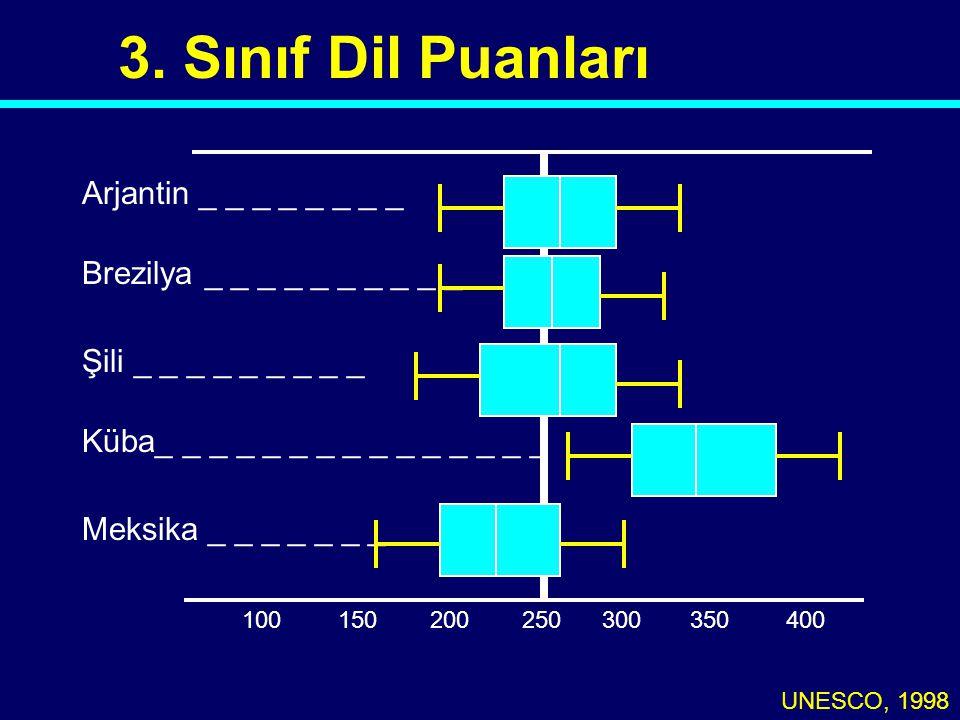 3. Sınıf Dil Puanları UNESCO, 1998 100250300350400150200 Arjantin _ _ _ _ _ _ _ _ Brezilya _ _ _ _ _ _ _ _ _ _ Şili _ _ _ _ _ _ _ _ _ Küba_ _ _ _ _ _