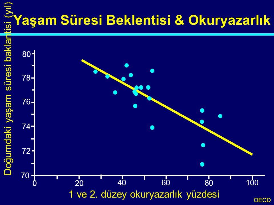 Yaşam Süresi Beklentisi & Okuryazarlık 70 78 76 74 72 80 200 40 60 100 80 Doğumdaki yaşam süresi baklantisi (yıl) 1 ve 2. düzey okuryazarlık yüzdesi O