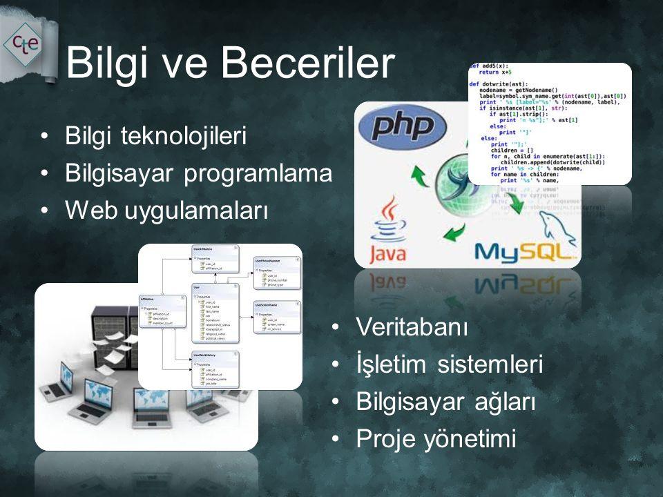 Bilgi ve Beceriler •Bilgi teknolojileri •Bilgisayar programlama •Web uygulamaları •Veritabanı •İşletim sistemleri •Bilgisayar ağları •Proje yönetimi